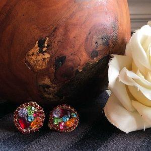 🆕 Vintage Clip-on Gem Cluster Earrings